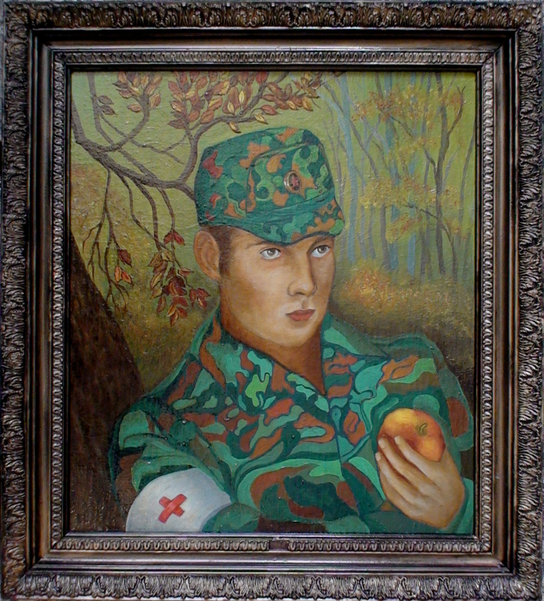 Vladimir Pavlovich Parkin. Portrait of a son. Pavel Parkin is a military orderly of the Border Troops.
