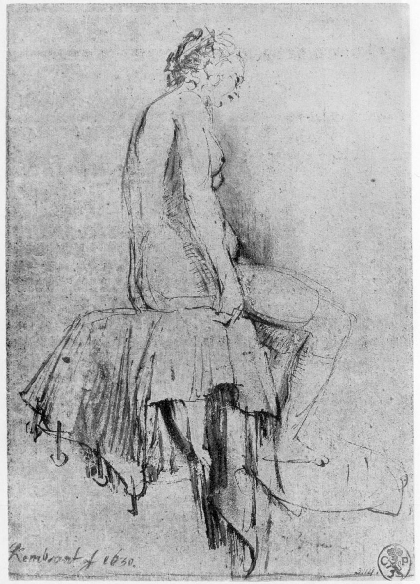 Рембрандт Харменс ван Рейн. Сидящая обнаженная натурщица, в профиль