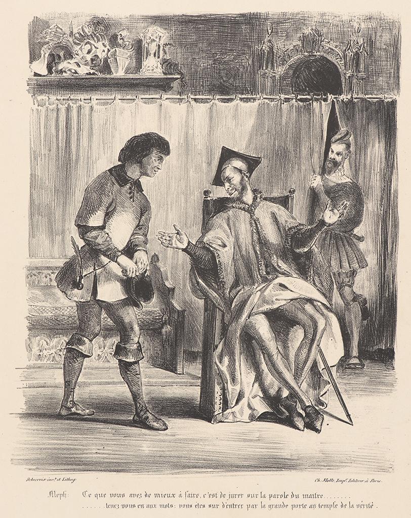 "Eugene Delacroix. Mephistopheles gets a student (for Goethe's ""Faust"")"