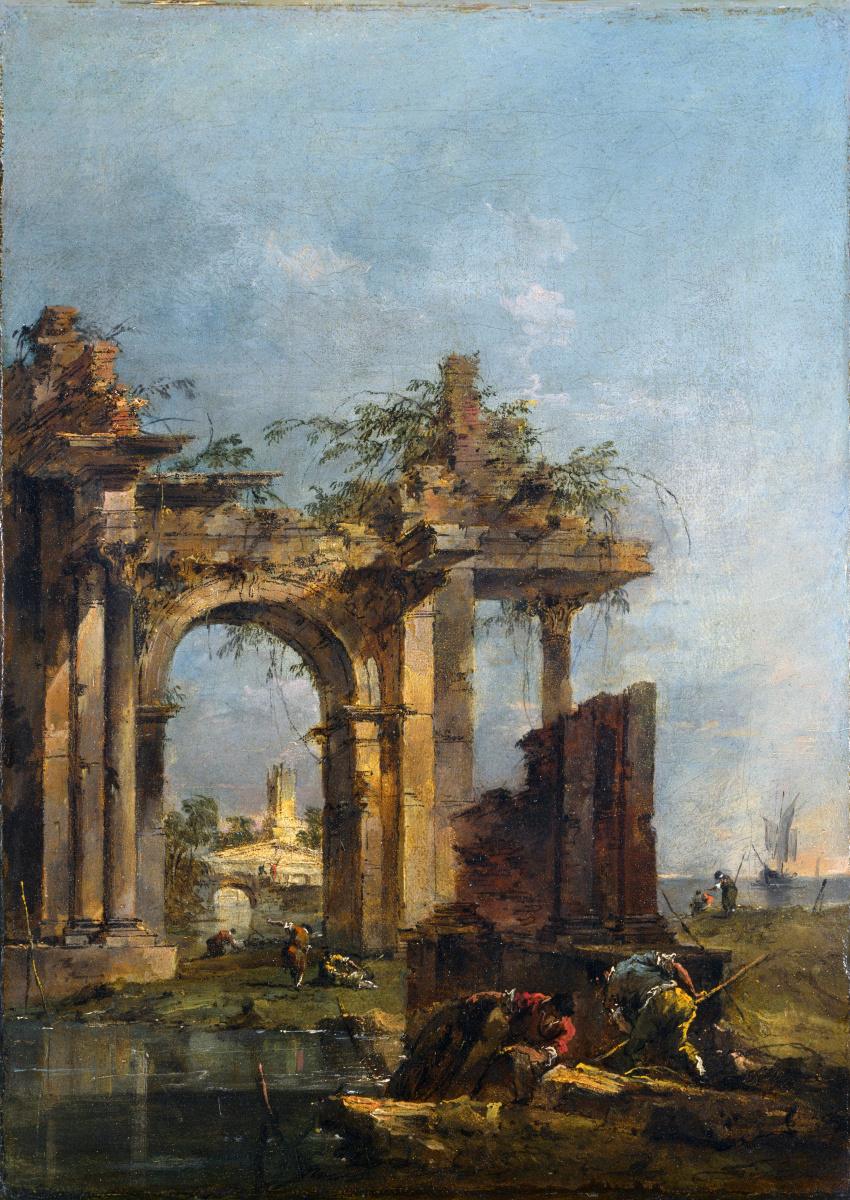 Франческо Гварди. Каприз с руинами на берегу моря