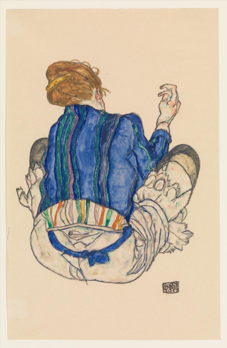 Эгон Шиле. Сидящая женщина, вид сзади