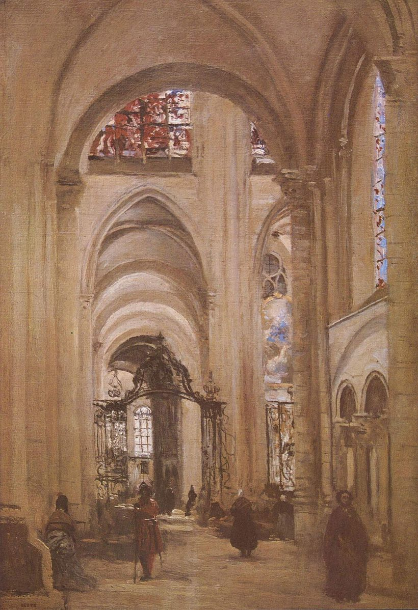Camille Corot. Interior of the Cathedral in Sens