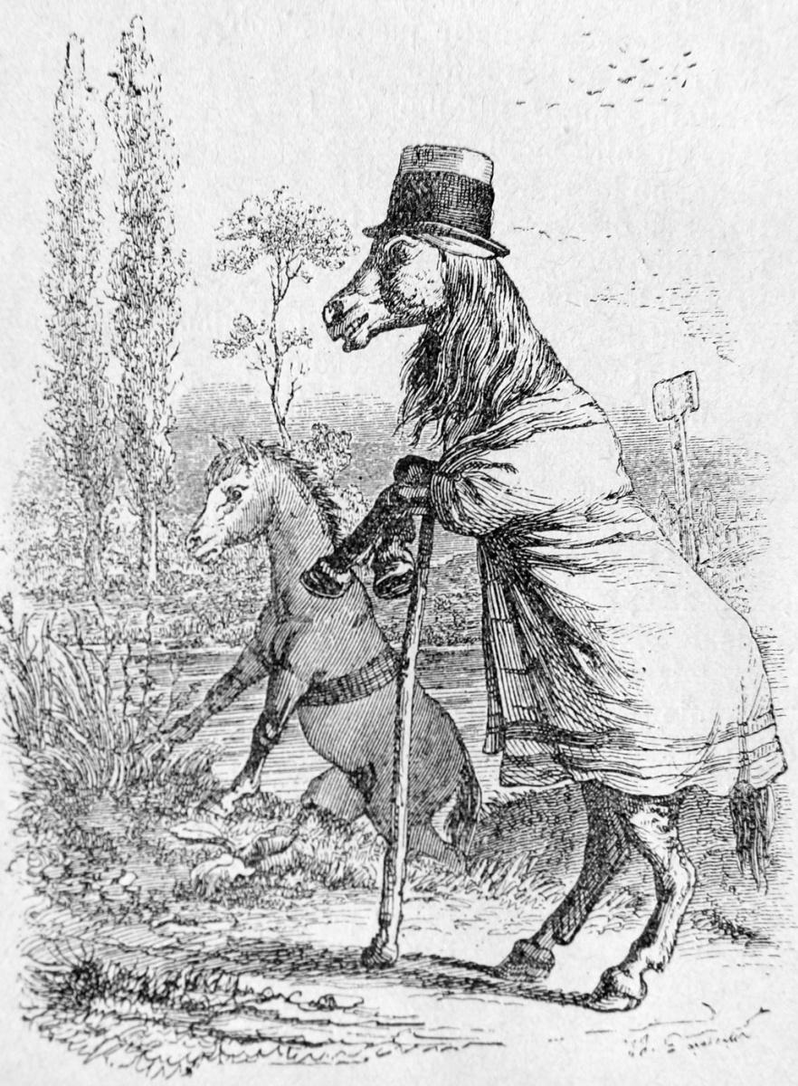 Жан Иньяс Изидор (Жерар) Гранвиль. Лошадь и Жеребенок. Иллюстрации к басням Флориана