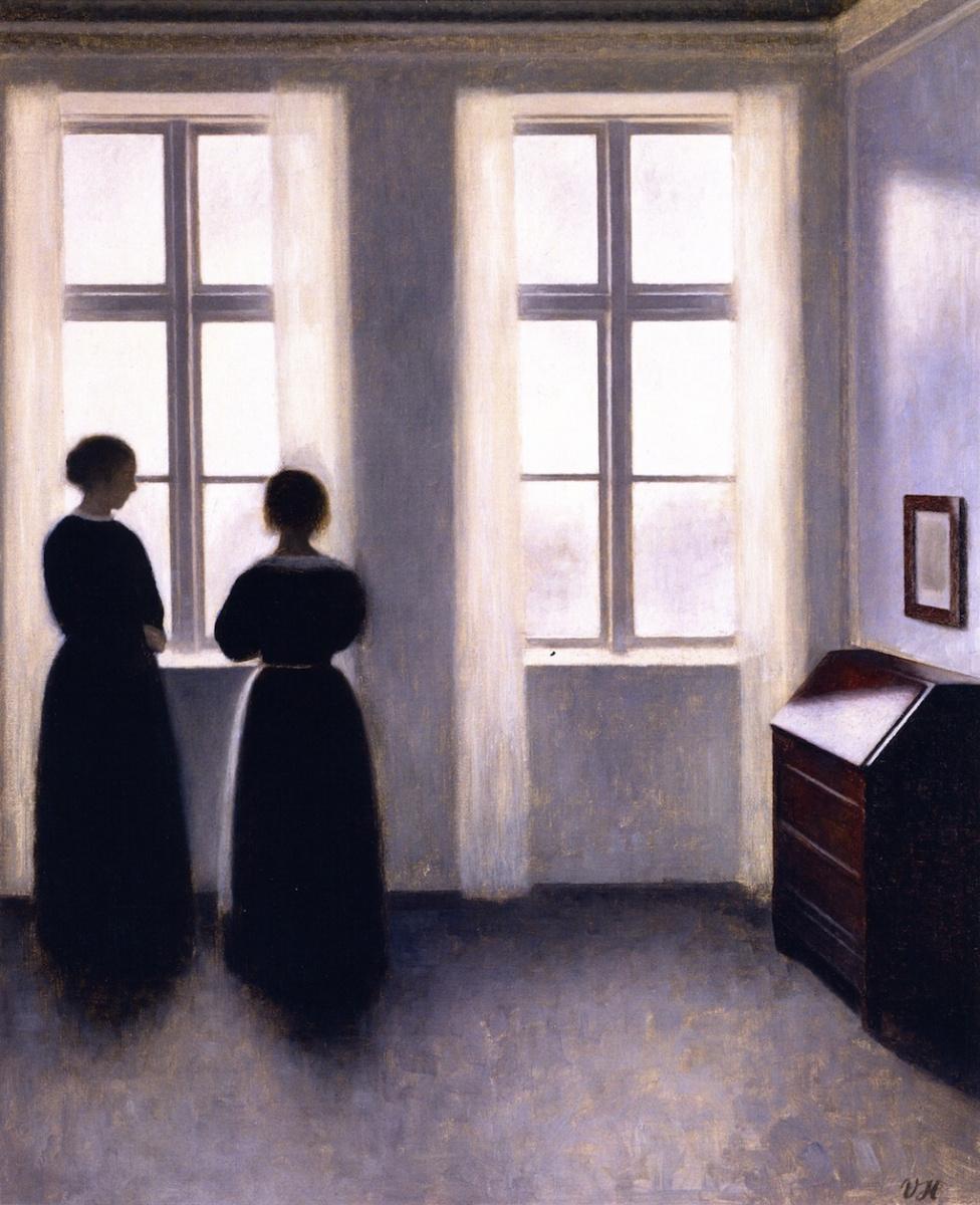 Вильгельм Хаммерсхёй. Две женские фигуры у окна