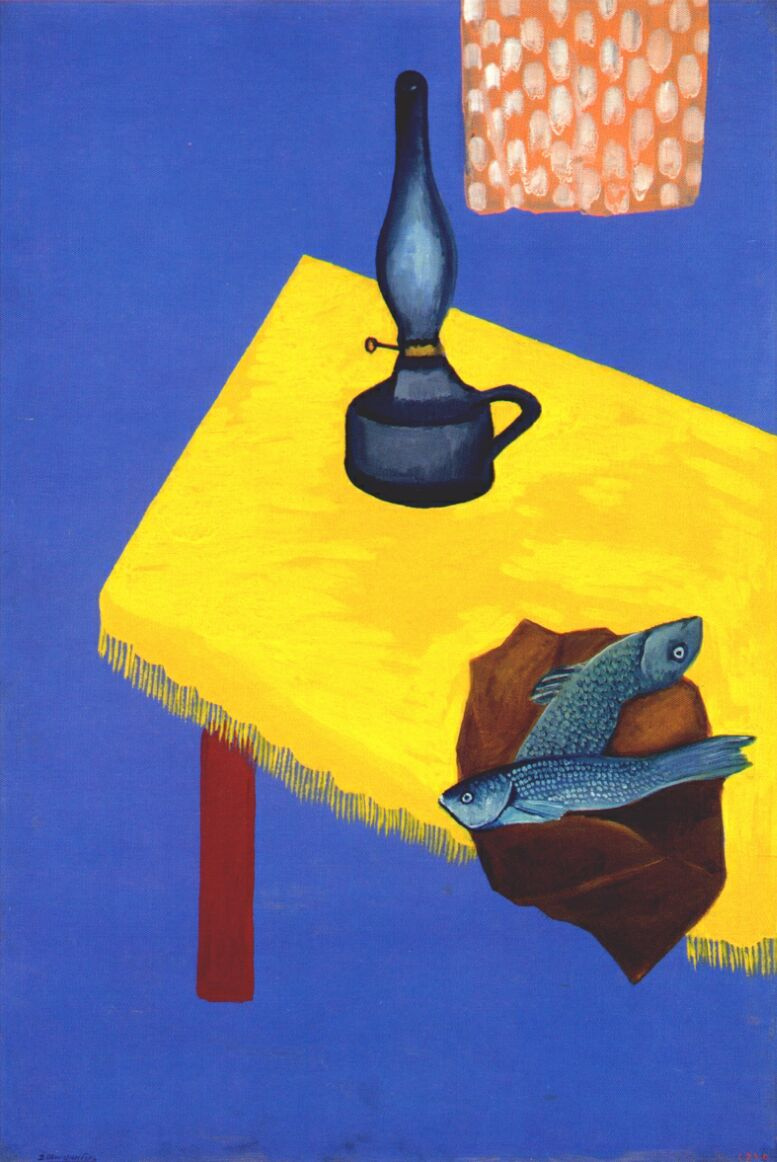 Shterenberg. Still life with lamp and herring