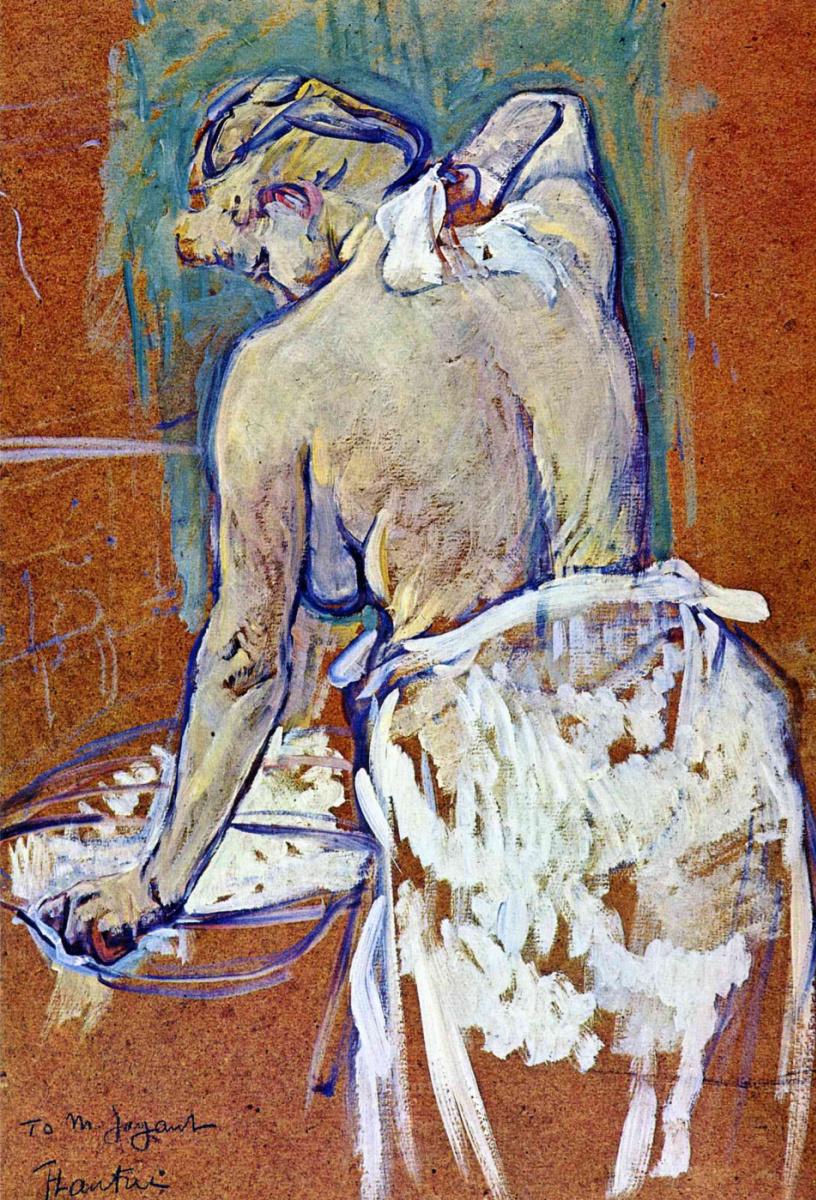 Анри де Тулуз-Лотрек. Полуобнаженная женщина моется