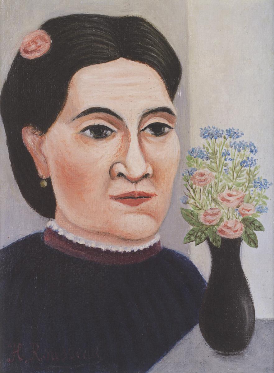 Анри Руссо. Портрет женщины с букетом цветов