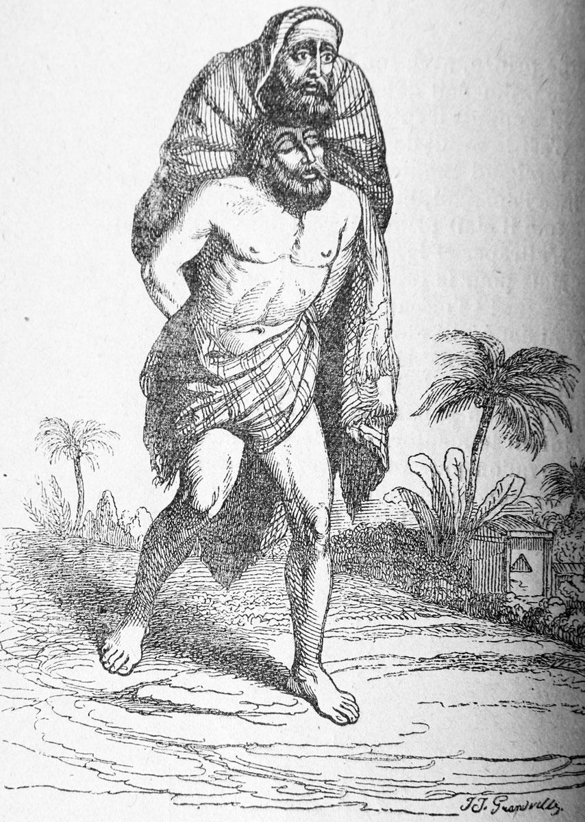 Жан Иньяс Изидор (Жерар) Гранвиль. Слепой и Безногий. Иллюстрации к басням Флориана