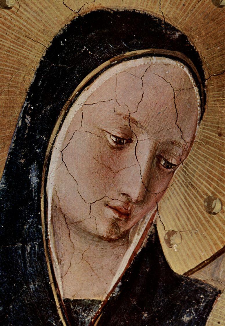 Фра Беато Анджелико. Цикл фресок доминиканского монастыря Сан Марко во Флоренции, сцена: Мария с младенцем Христом и святыми, деталь