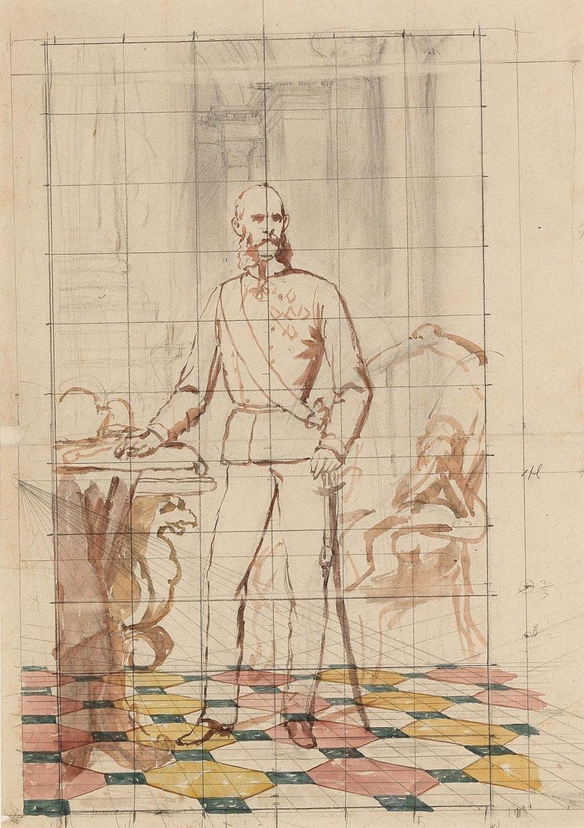 Карл фон Блаас. Набросок для портрета императора Франца Иосифа I Австрийского в униформе