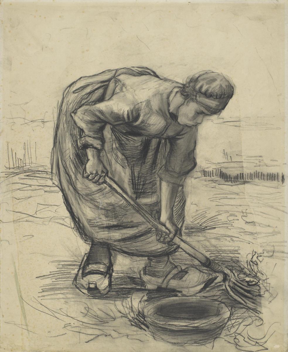 Vincent van Gogh. A farmer collects potatoes