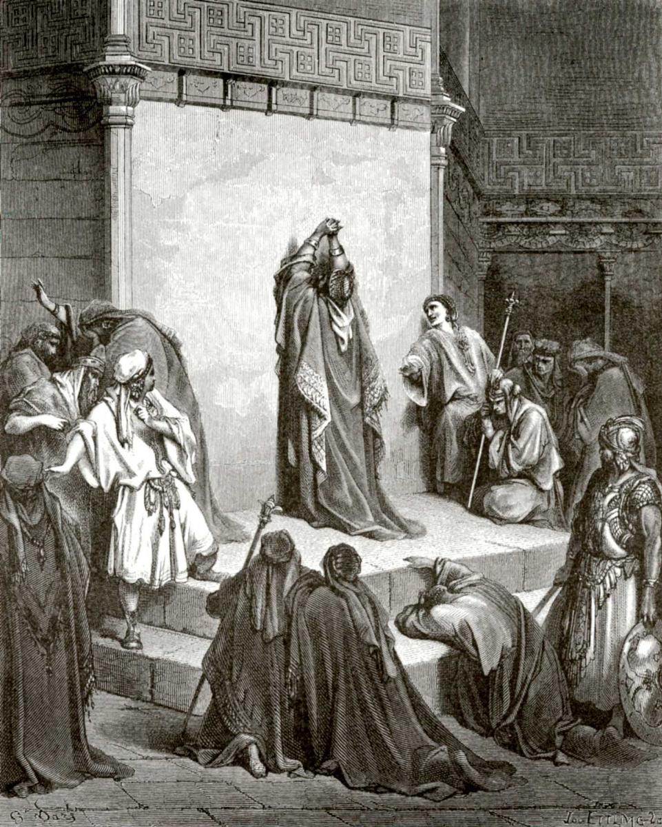 Поль Гюстав Доре. Иллюстрация к Библии: Давид оплакивает смерть Авессалома
