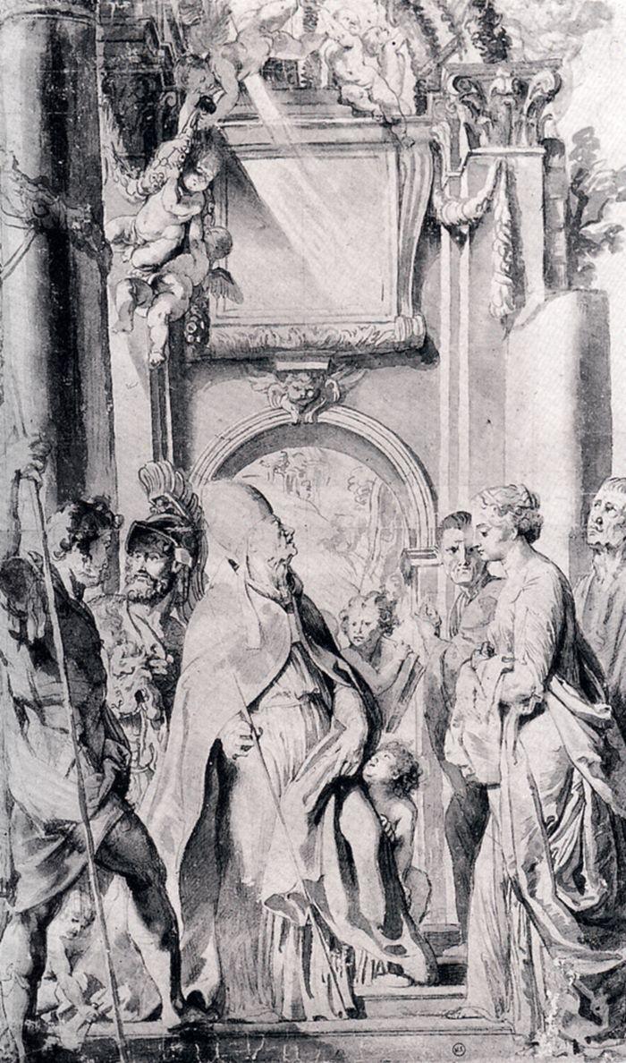 Питер Пауль Рубенс. Святой Григорий со святыми Домициллы, Мавром и Папианом (этюд)