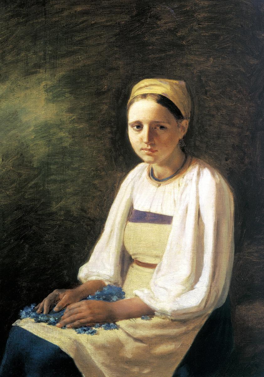 Алексей Гаврилович Венецианов. Крестьянка с васильками