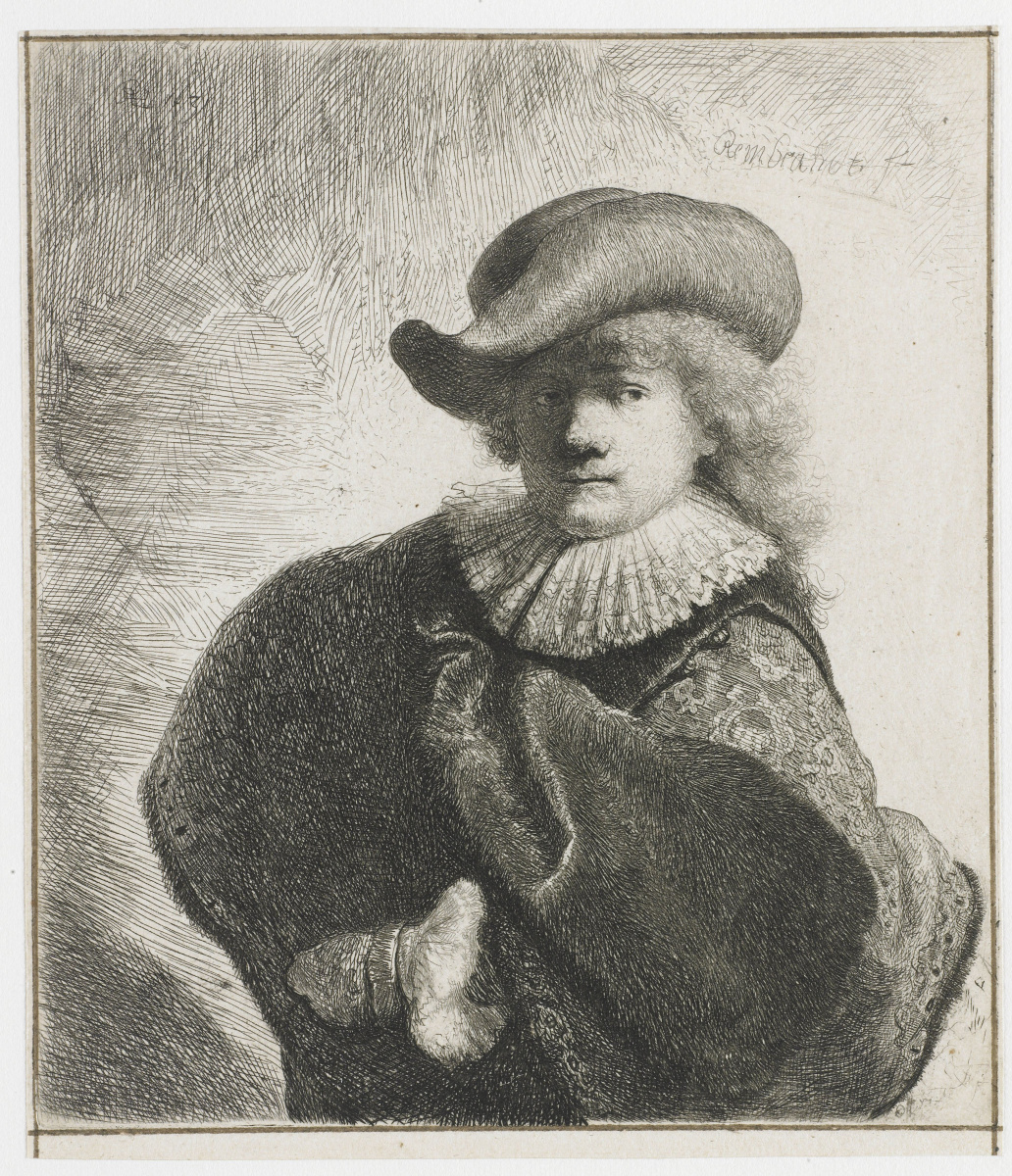 Rembrandt Harmenszoon van Rijn. Self-portrait in a hat with a curved brim and embroidered cloak