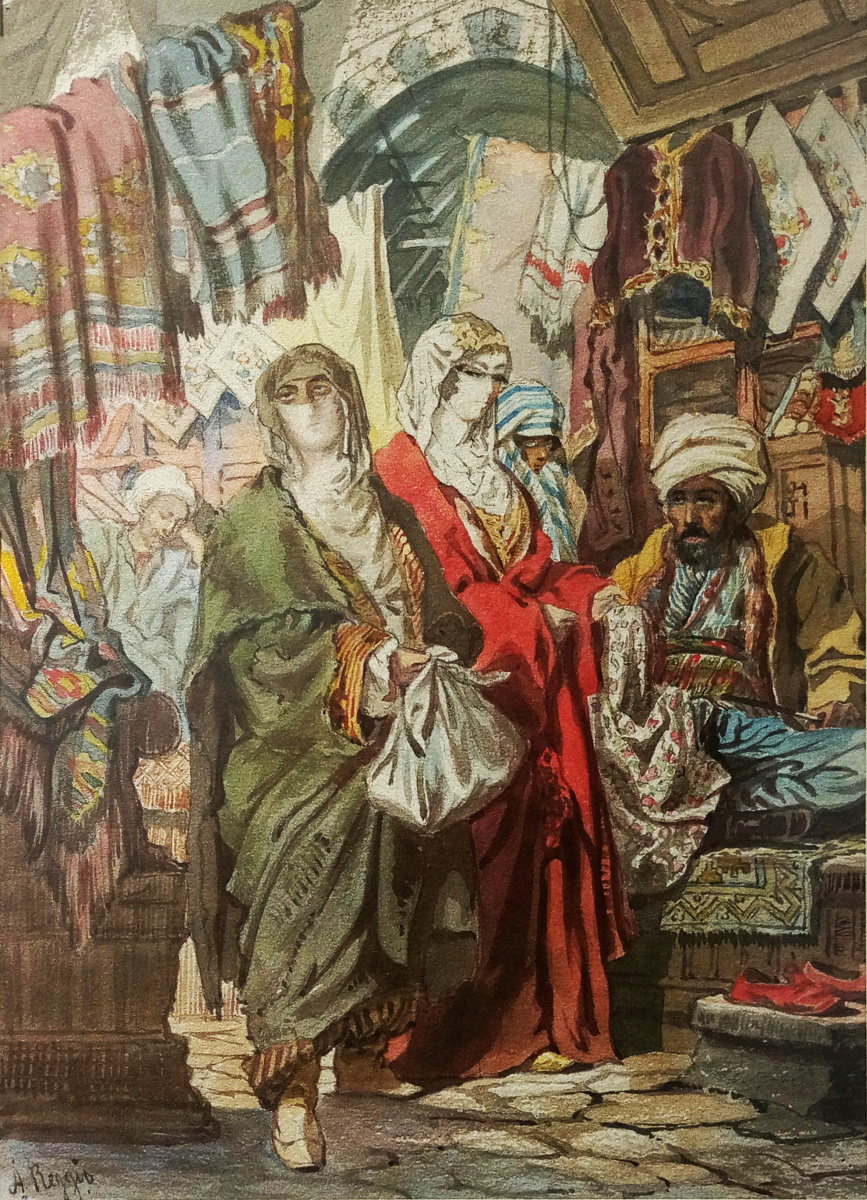 "Alexander Nikolaevich Beklemishev (Reggio). Eastern women on the market. Copy of lithograph by A. Preziosi ""fabric Market"""