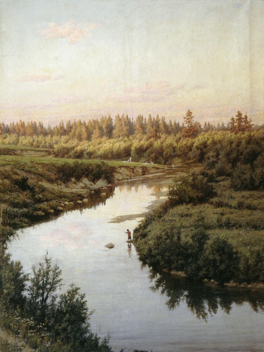 Александр Павлович Брюллов. Пейзаж с рекой. 1900