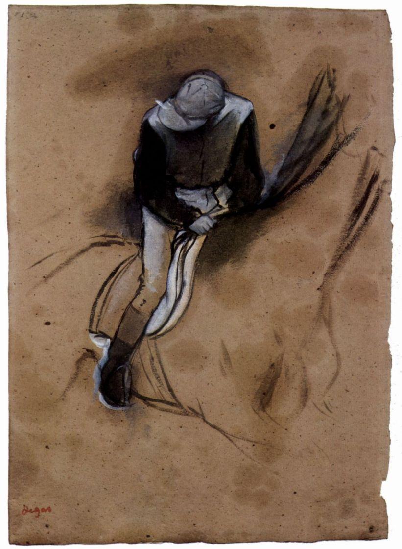 Эдгар Дега. Жокей, привставший в седле и наклонившийся вперед
