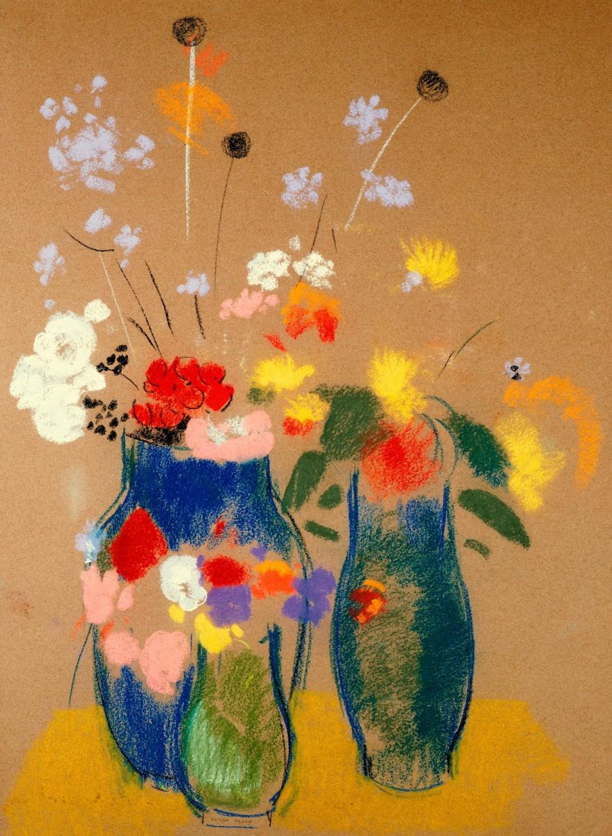 Одилон Редон. Три вазы с цветами