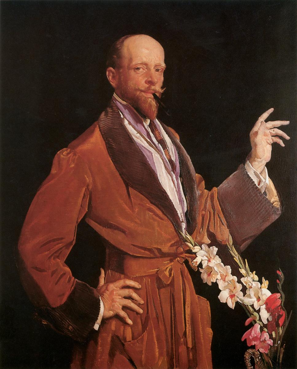 Джордж Ламберт. Автопортрет с гладиолусами