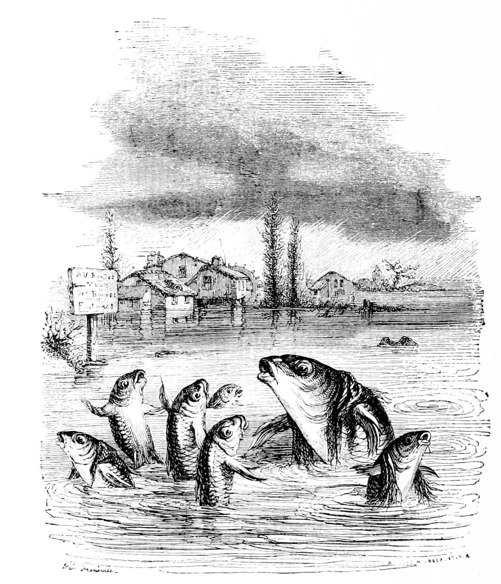 Jean Inias Isidore (Gerard) Granville. Old carp and young carp. Illustrations to the fables of Florian