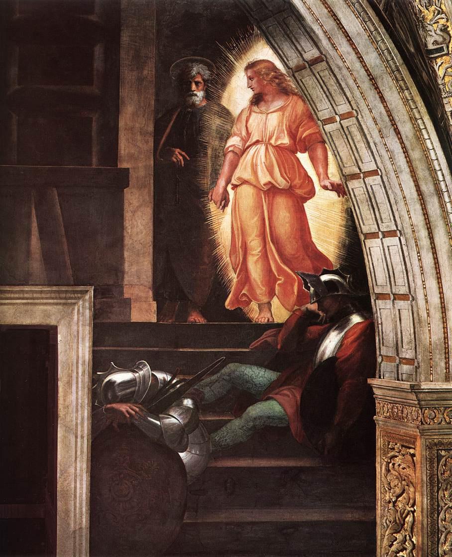Рафаэль Санти. Станцы Ватикана. Освобождение Петра. Фрагмент