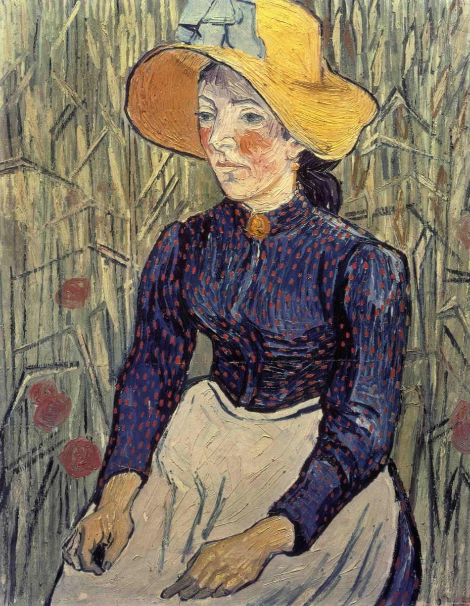 Винсент Ван Гог. Портрет молодой женщины в соломенной шляпе среди пшеницы
