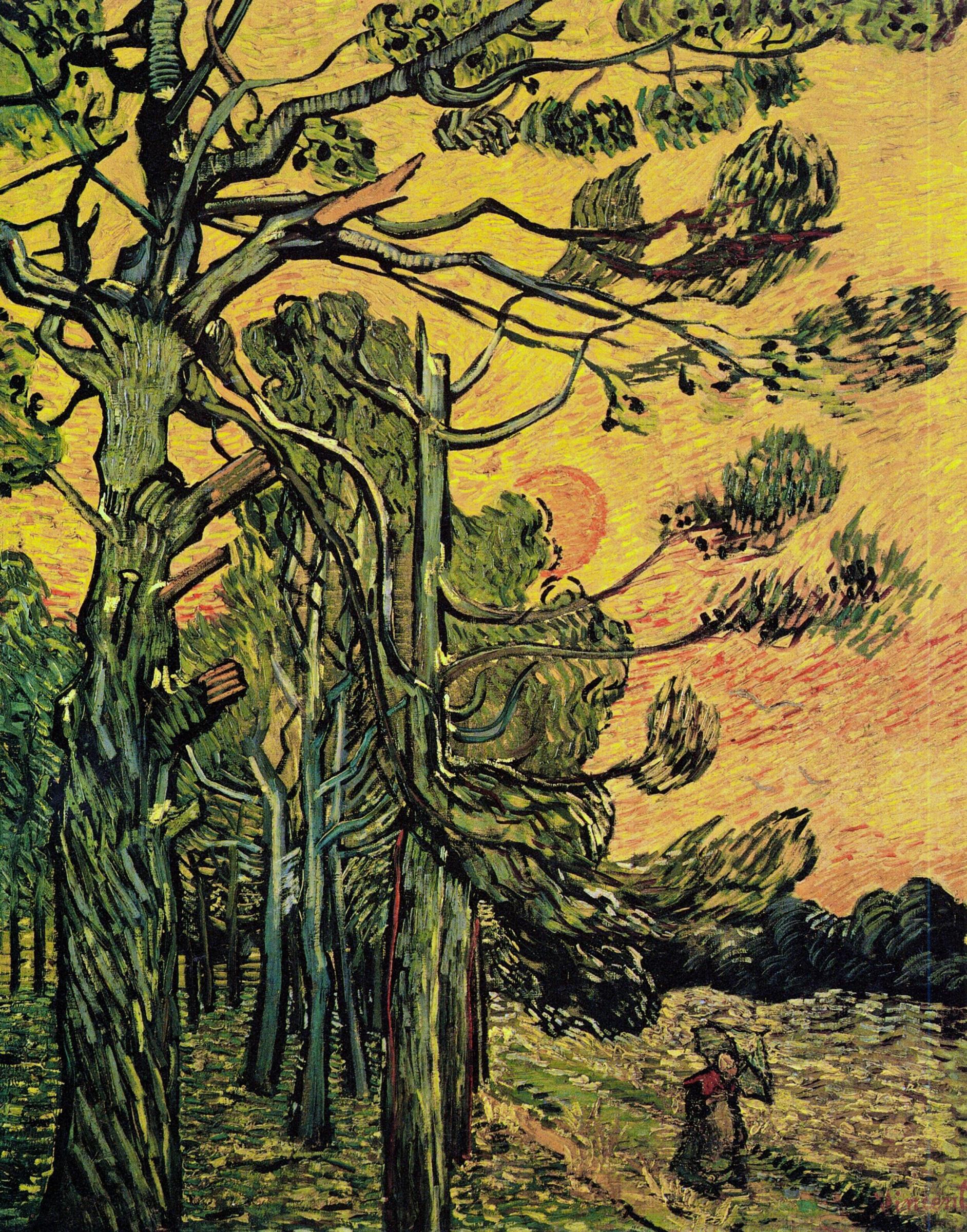 Винсент Ван Гог. Сосны на фоне оранжевого неба с заходящим солнцем