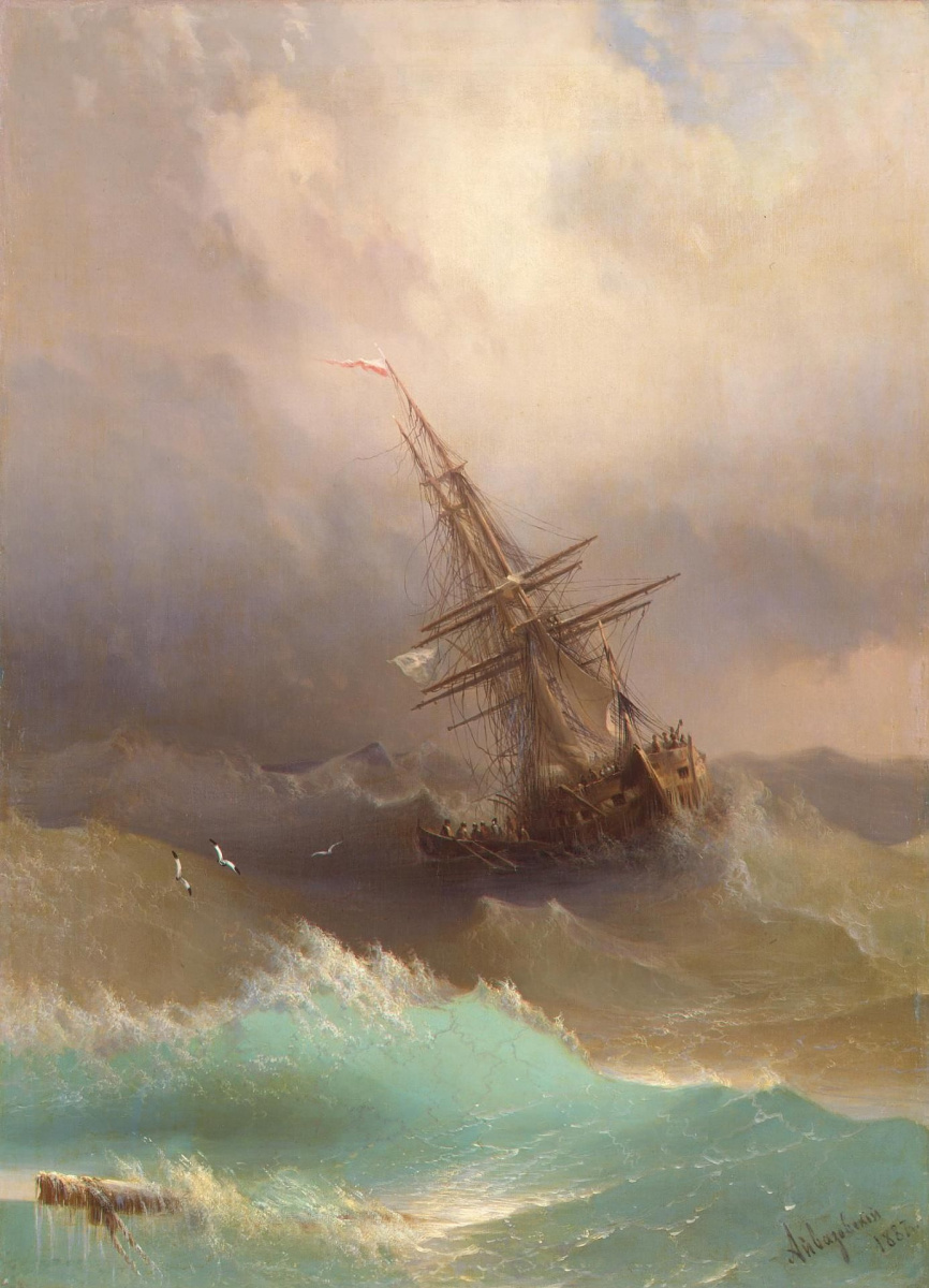Ivan Aivazovsky. Ship in a stormy sea