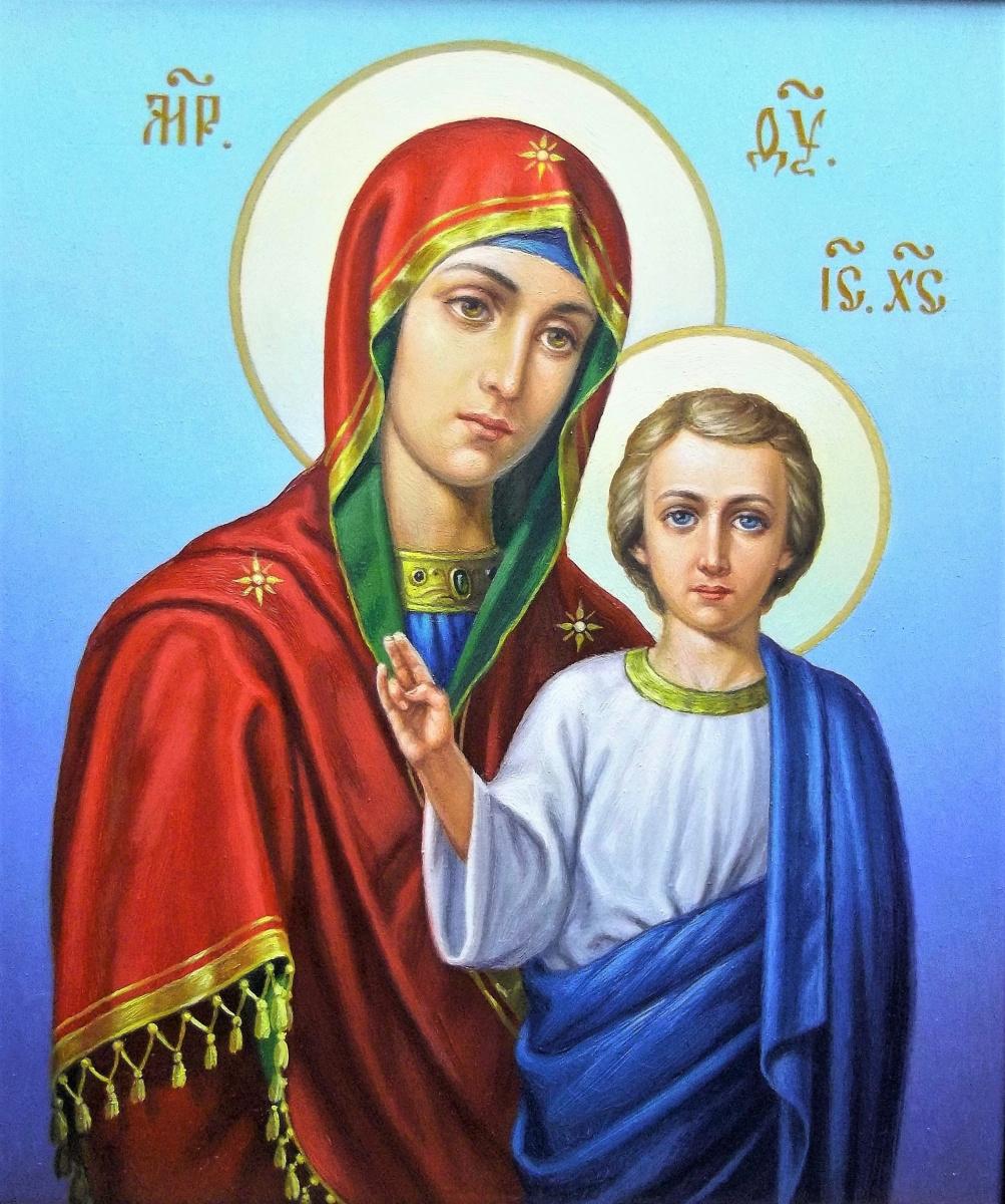 "Ruslan Vasilievich Derevtsov. Icon ""Image of the Kazan Theotokos""."