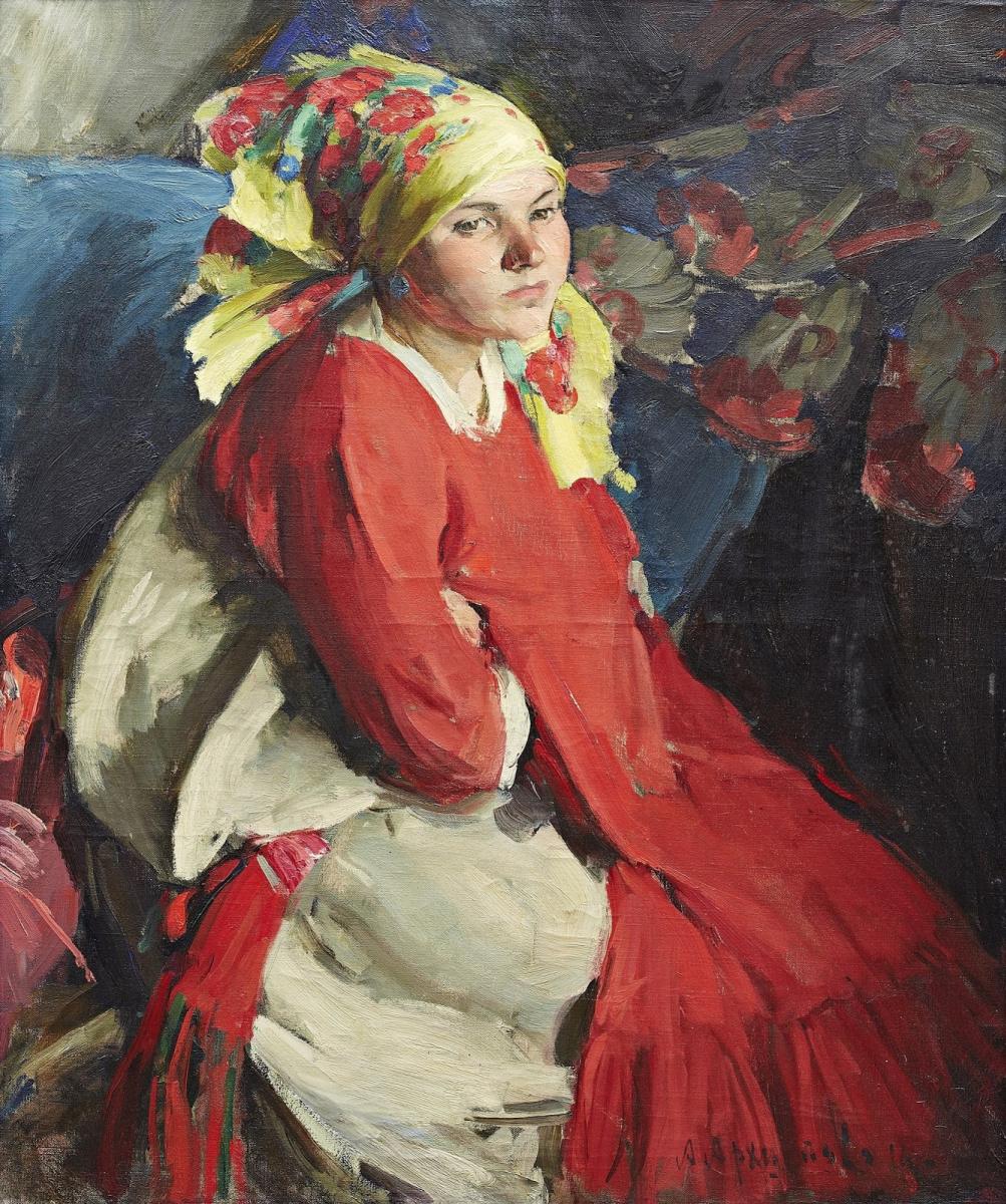 Abram Arkhipov. Peasant girl in a yellow scarf