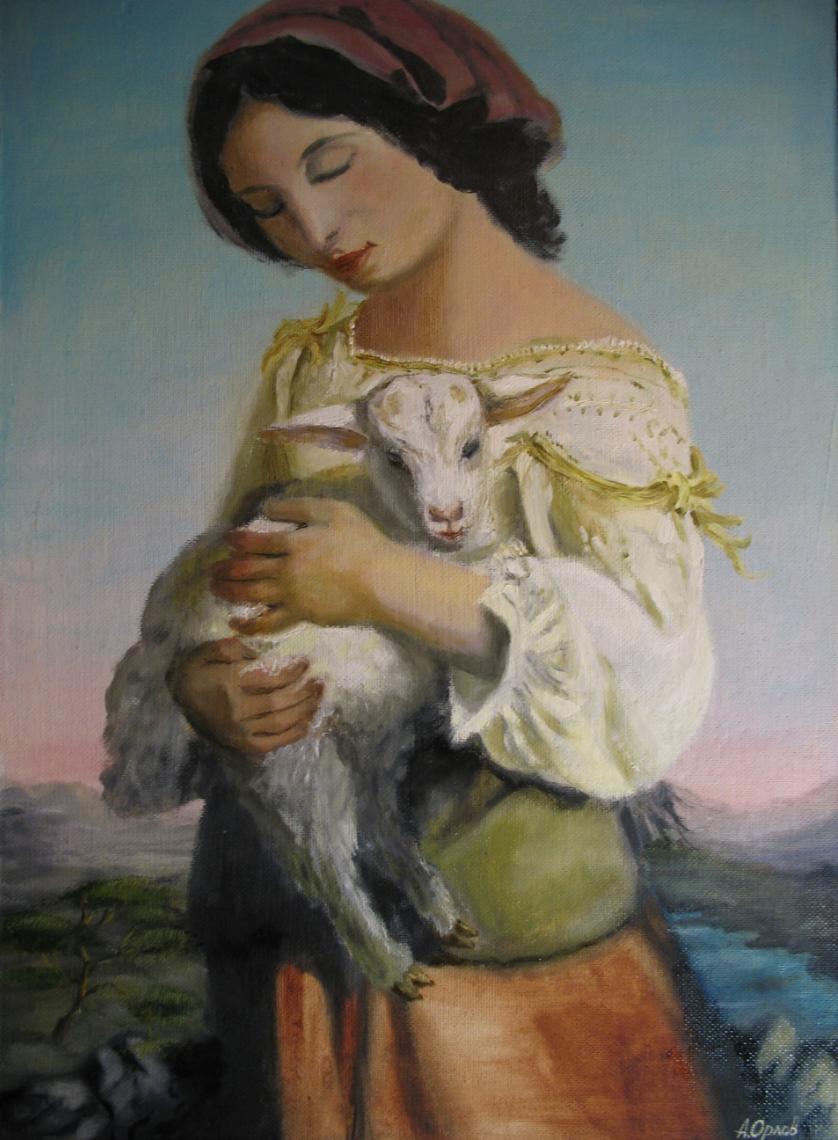 Alexander Valerievich Orlov. Shepherdess with a Lamb (copy Lehmann R.)