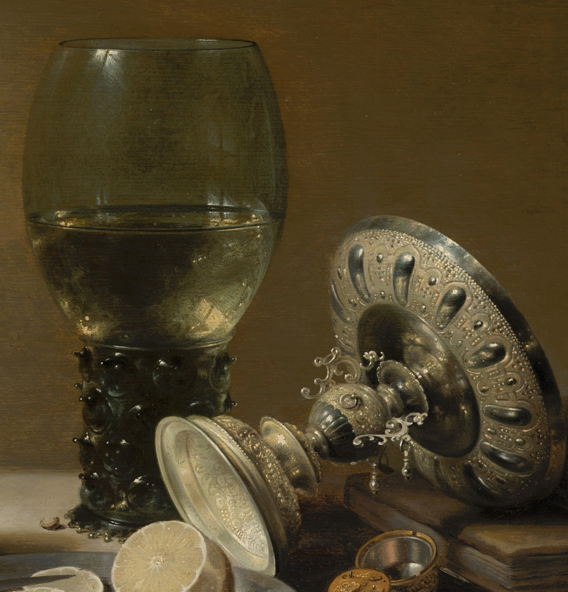Still-life with wine glass, vase, bread and lemon