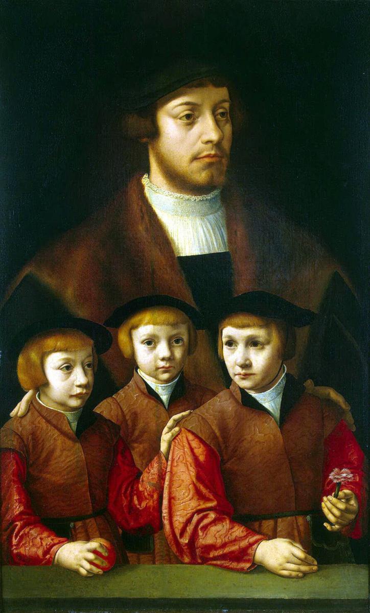 Бартоломеус Старший Брейн. Портрет мужчины с тремя сыновьями
