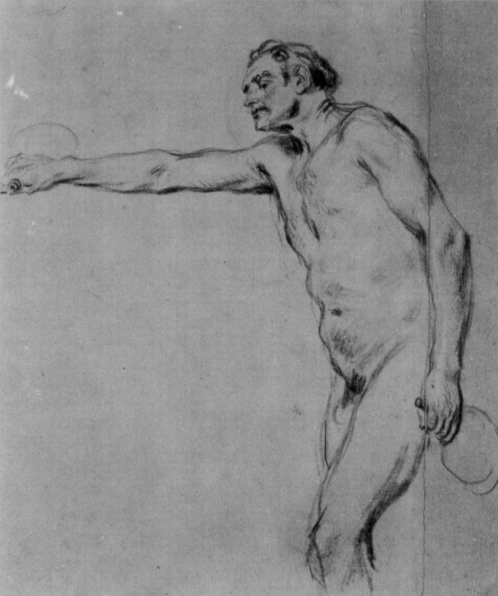Антуан Ватто. Обнаженный натурщик с флягами