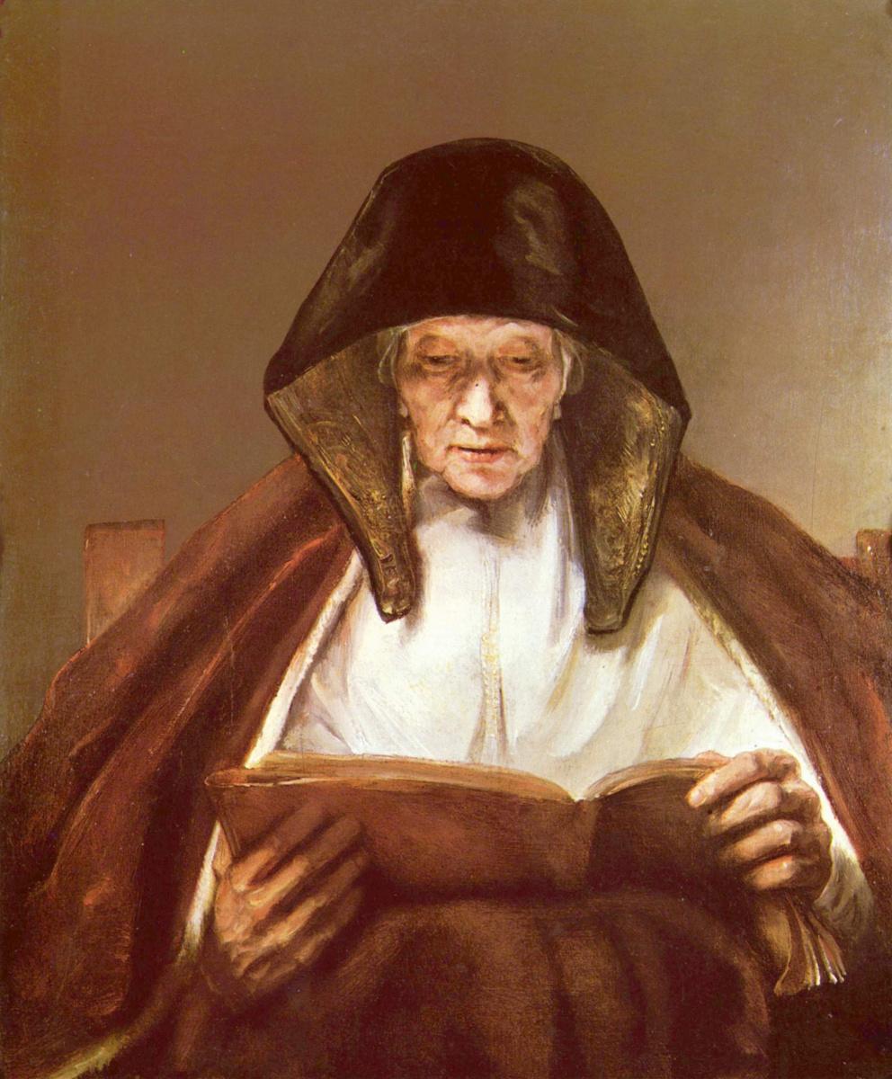 Rembrandt Harmenszoon van Rijn. Mother reads the Bible