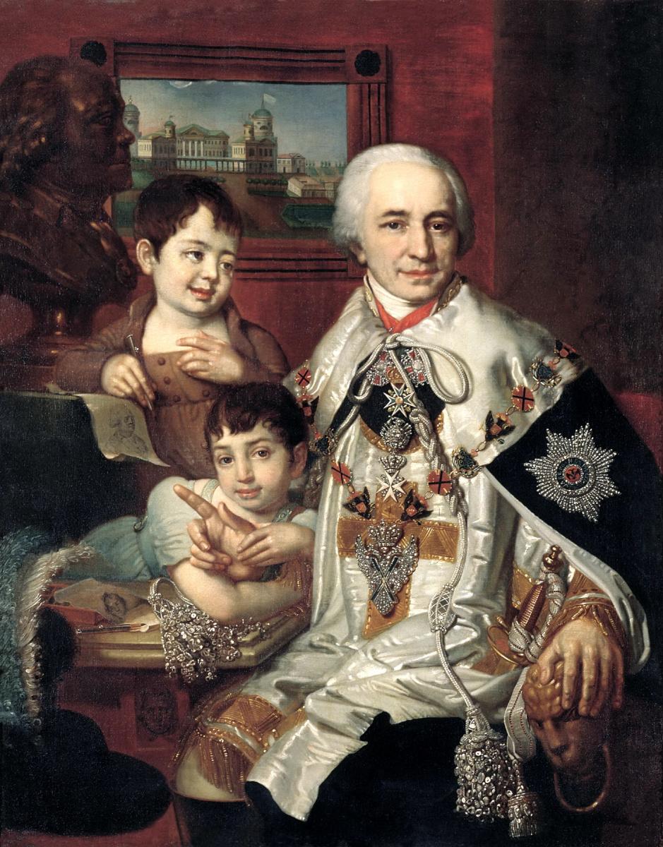 Владимир Лукич Боровиковский. Портрет графа Григория Григорьевича Кушелева с детьми