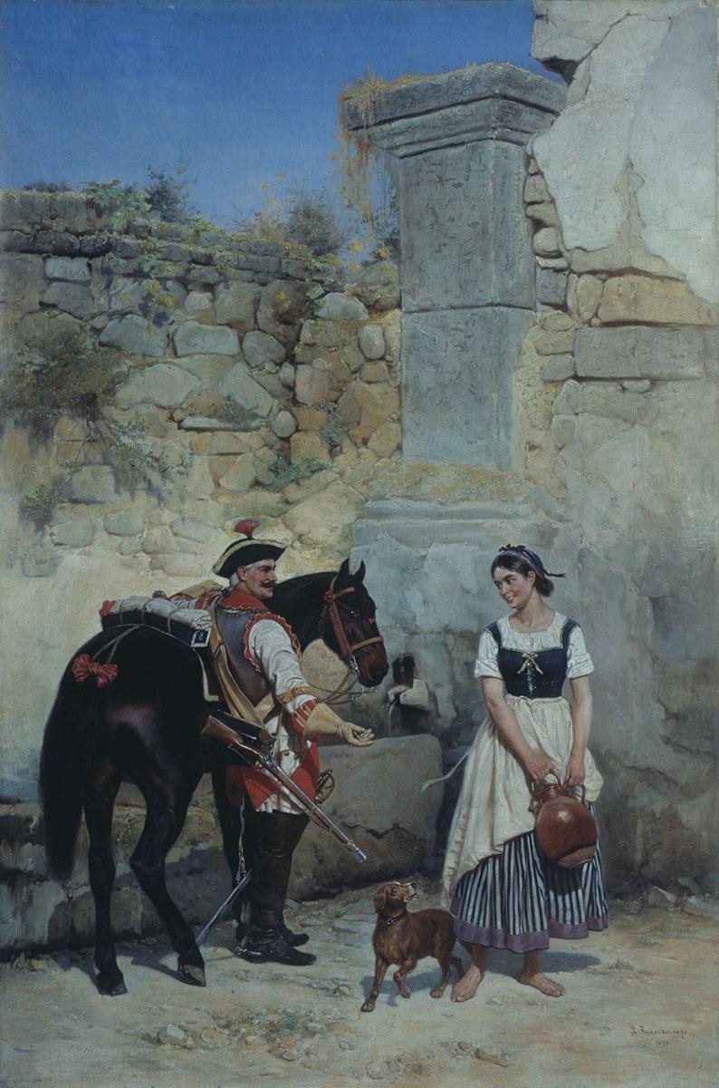 Bogdan Pavlovich Willewalde. The scene at the well. 1890