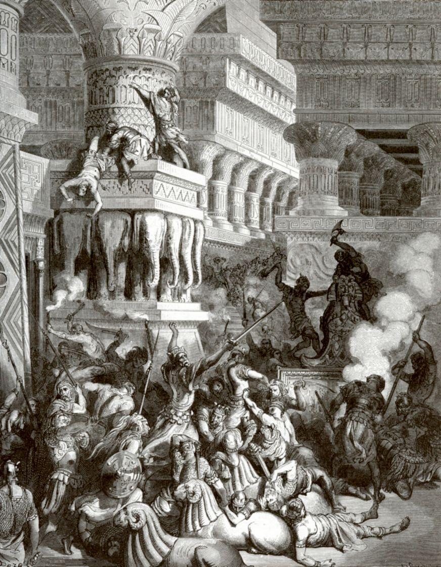 Поль Гюстав Доре. Ионафан разрушает капище Дагона
