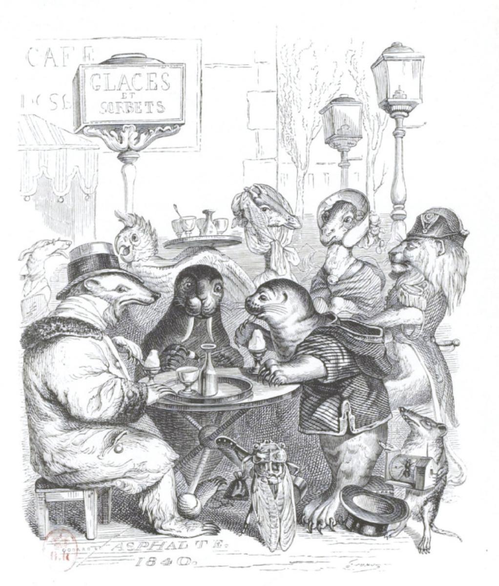 """Жан Иньяс Изидор (Жерар) Гранвиль. В Париже отвратительная кухня... """"Сцены общественной и частной жизни животных"""""""