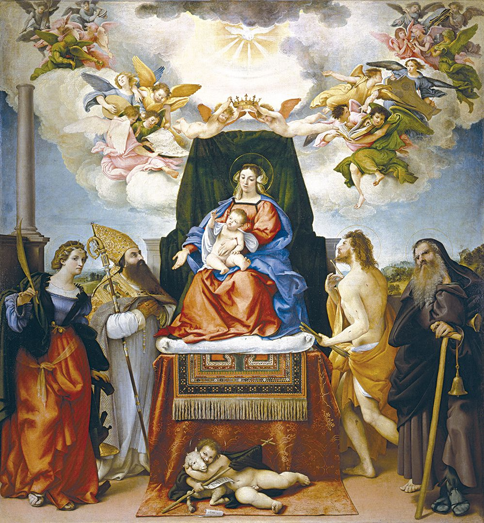 Lorenzo Lotto. Madonna enthroned with St Catherine, Augustine, Sebastian, Anthony Abbot and St John the Baptist