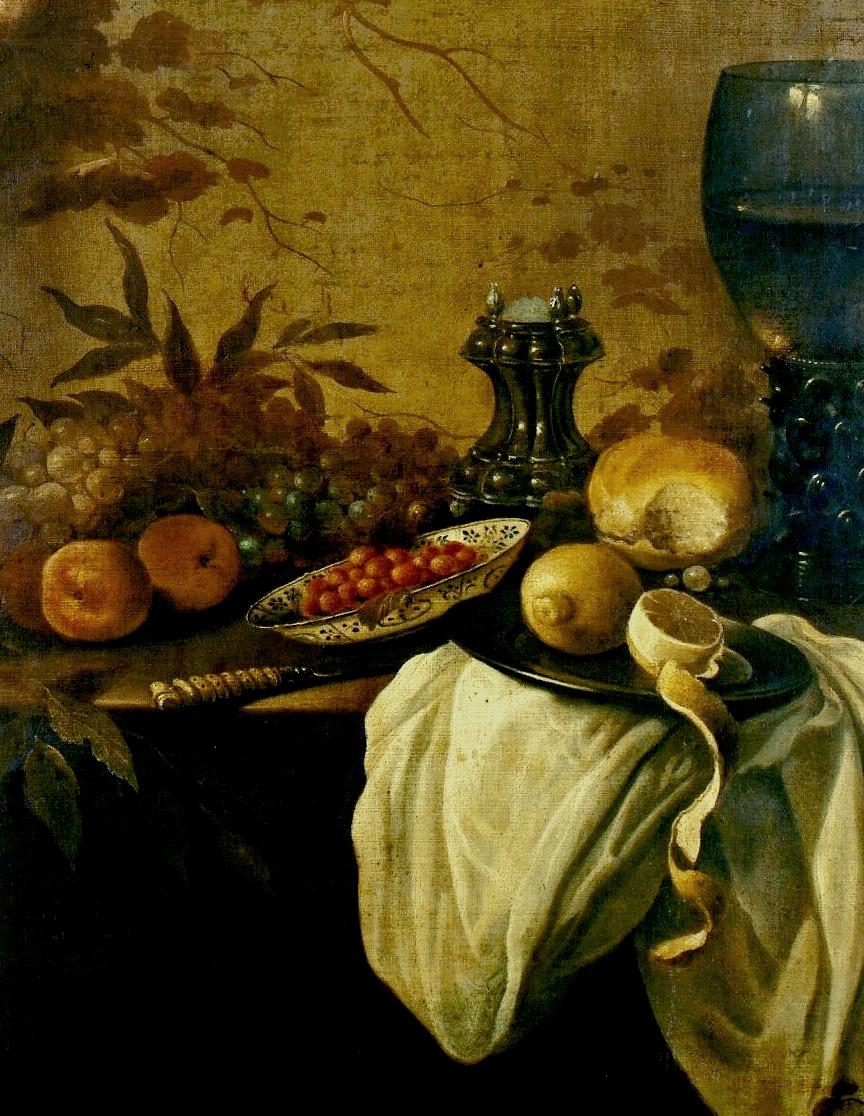 Pieter Claesz. Still-life with fruit, salt, bread, lemon, and mortar. Fragment