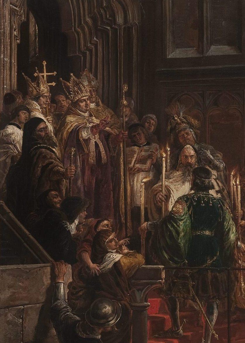 Ян Матейко. Крещение Владислава III Варнечика в Польше 18 февраля 1425 года. Фрагмент II