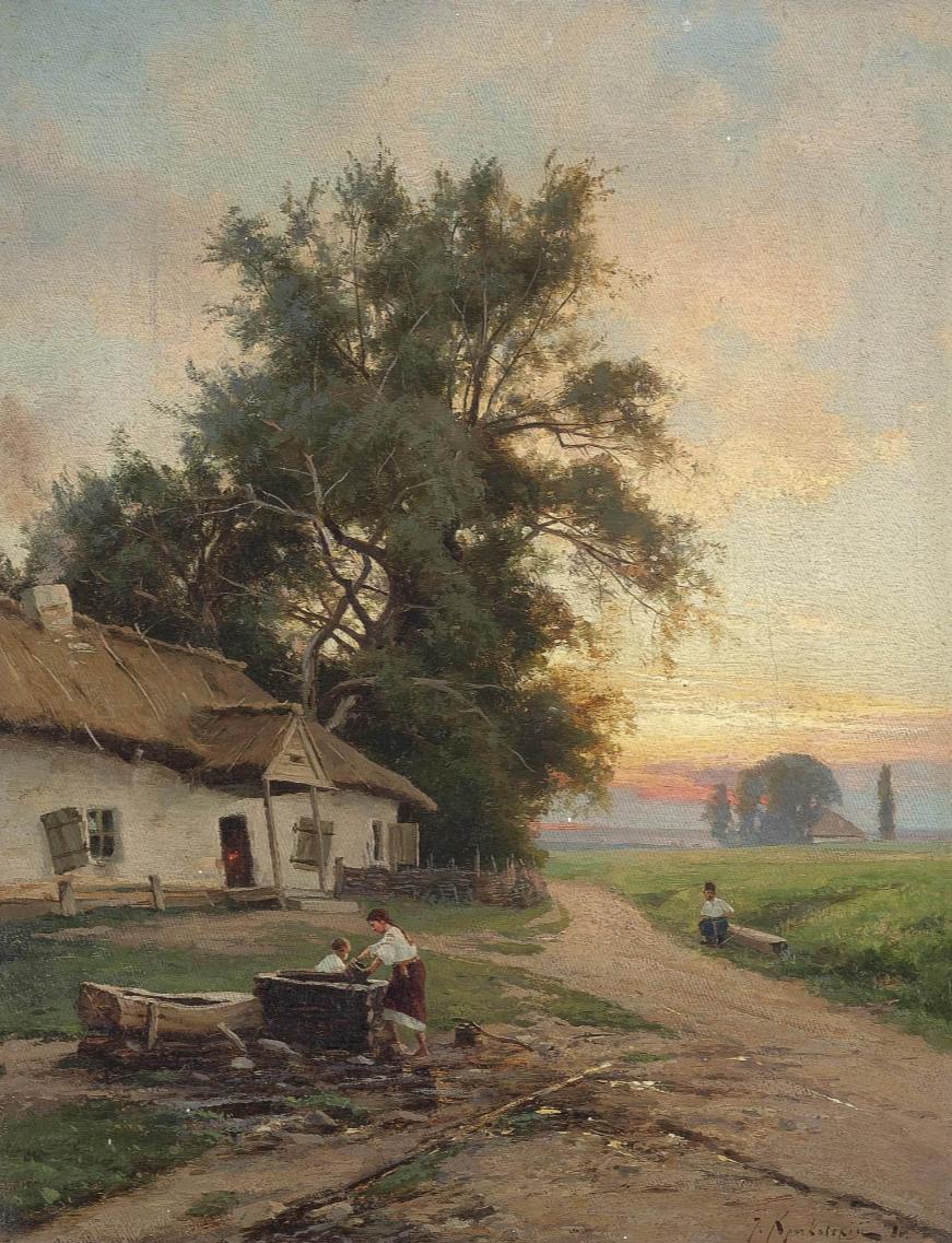 Joseph Evstafievich Krachkovsky. At the well. Private collection.
