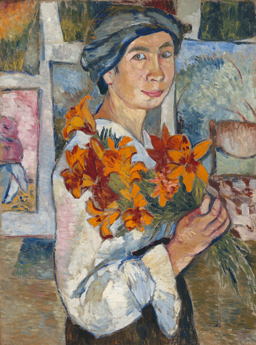 Natalia Goncharova. Self-portrait with yellow lilies