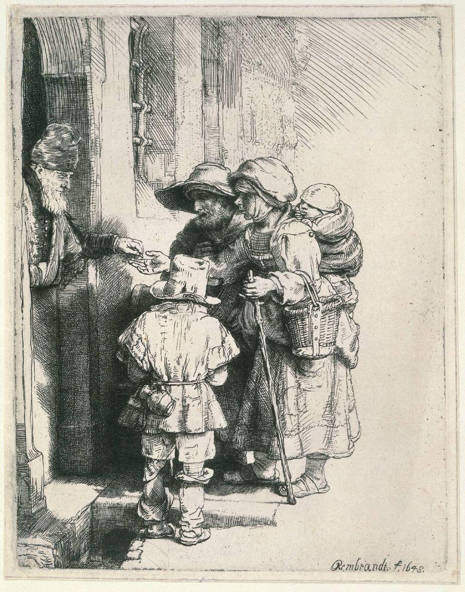 Рембрандт Харменс ван Рейн. Нищие у двери дома