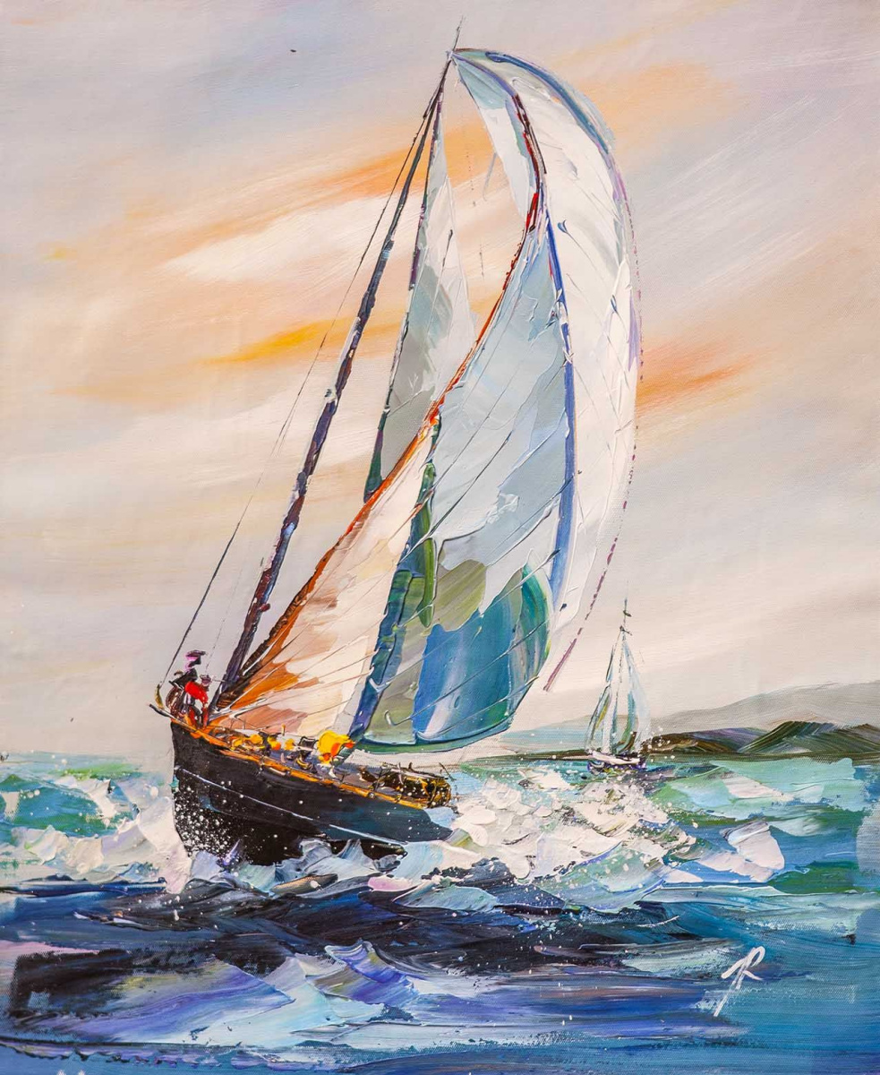 Jose Rodriguez. White yacht in the blue sea N2