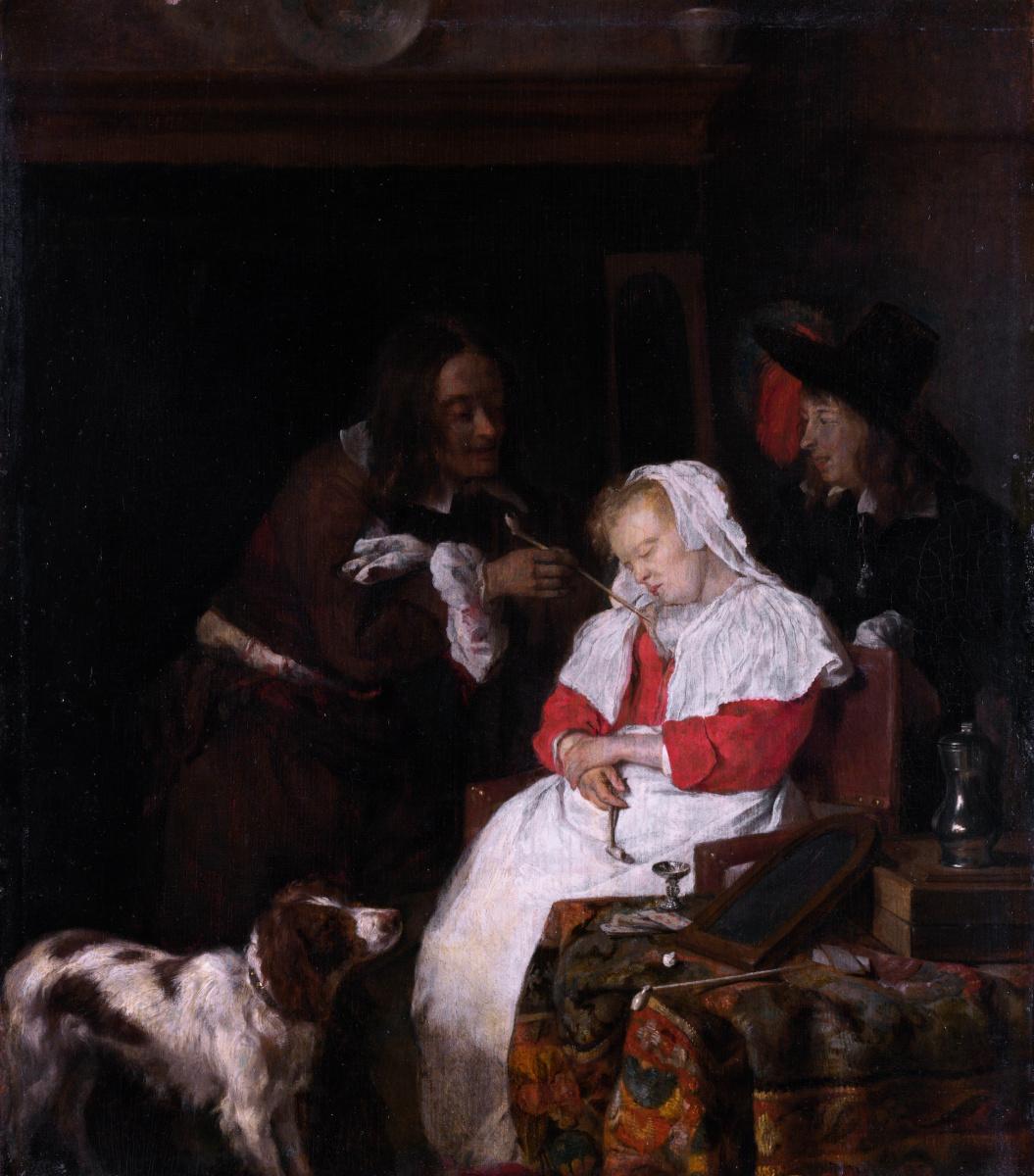 Габриель Метсю. Двое мужчин с спящей женщиной
