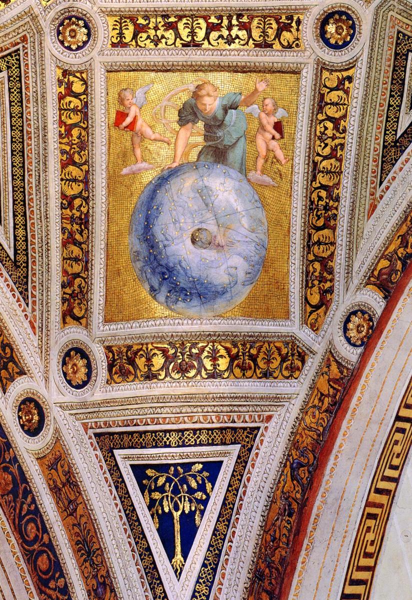 Рафаэль Санти. Станца делла Сеньятура. Фрагмент росписи потолка. Первый двигатель Вселенной или Астрономия