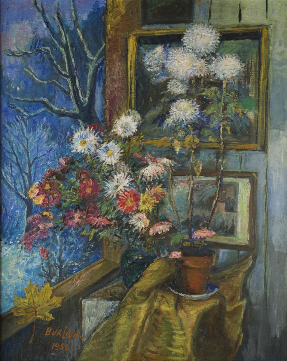 Давид Давидович Бурлюк. Цветы у окна